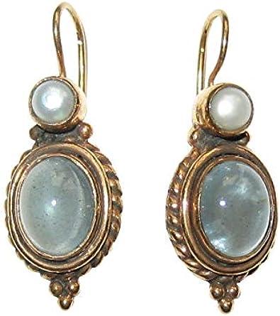 Pendientes de aguamarina gris-azul perla de agua dulce auténtico gancho con cierre de plata chapada en oro Retro Vintage Hecho a mano Unikat Italia regalo lujo clásico