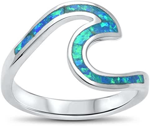 Wave Ocean Beach Lab Created Blue Opal .925 Sterling Silver Ring sizes 4-12