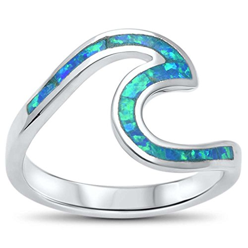 Oxford Diamond Co Wave Ocean Beach Lab Created Opal .925 Sterling Silver Ring sizes 4-12 Colors Available (Lab Created Blue Opal, 7) from Oxford Diamond Co