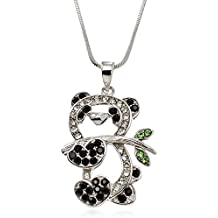 """PammyJ Crystal Panda Bear Pendant Charm Necklace, 18"""""""