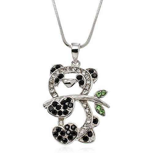 PammyJ Panda Necklace For Girls or Women - Crystal Panda Koala Bear Pendant Heart Charm Necklace Jewelry, 18