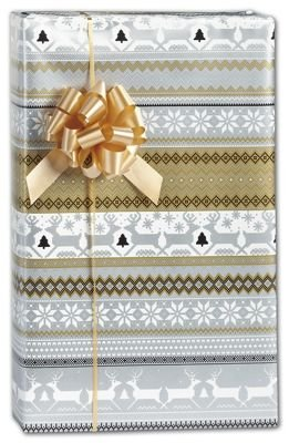 Sweater Print in Silver & Gold Gift Wrap, 30'' x 208'