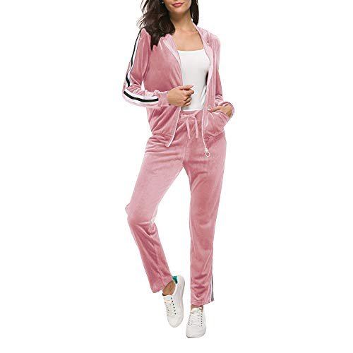 Fantasy Closet Womens 2 Pieces Outfits Long Sleeve Zipper Hoodie and Pants Set Tracksuit (XL, Pink)