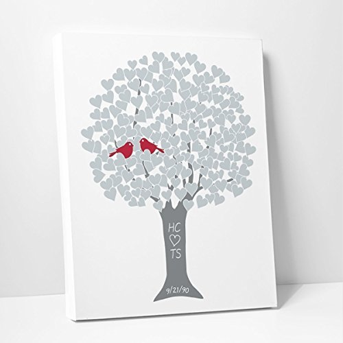 25th Anniversary Poster (25th Wedding Anniversary Gift Personalized Silver Heart Tree with Names and Date (Stretched Canvas))