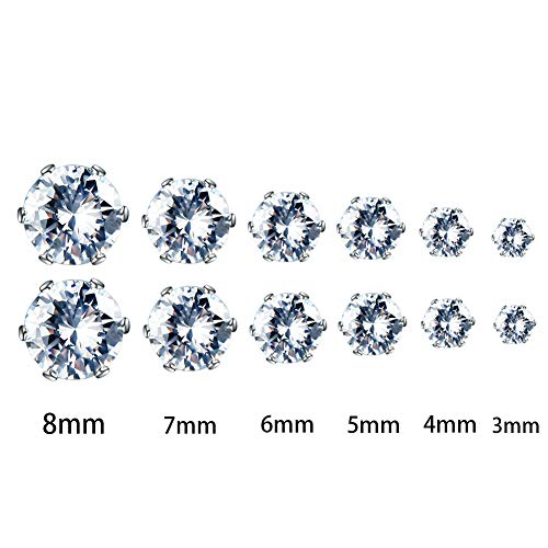 JunXin Jewelry Womens Stainless Steel Round Clear Cubic Zirconia Stud Earrings (6 Pairs) Best Gift For Girls