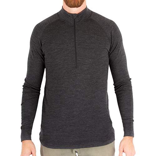(MERIWOOL Men's Merino Wool Midweight Half Zip Top - Charcoal Gray/L)