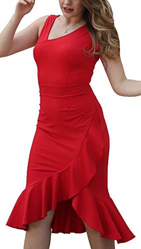 DILANNI Womens Vintage Midi Knee Length V Neck Cocktail Formal Party Dress