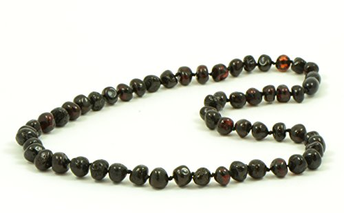 AmberJewelry Baltic Amber Necklaces for Adults - 18-21.6 inches Made from Authentic/Polished Baltic Amber Beads (21.6 inches (55 cm), Cherry)