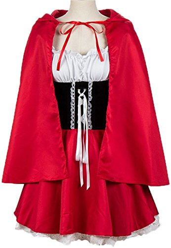 Vevesmundo Halloween Carnival Fancy Sexy Costumes Cosplay for Women for Little Red Riding Hood with Cape Costume Dress Plus Size (US14/ Bust:40-42IN Waist:32IN Dress Length:30.7IN)