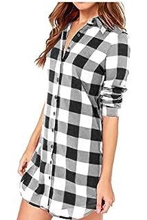 9644554c9 Vococal - Solapa Casual Camisa Cuadros Blusa de Manga Larga para Mujer