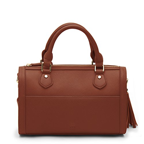 (Marsi Bond Classic Vegan Faux Leather Barrel Bag Inspired Duffle Satchel Purse Cognac Brown)