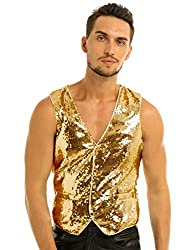 Men's Shiny Sequins Button Down Vests