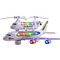 LilPals Live Action Toy Police Air Plane With Piggy Back Rescue Helicopter - Bump & Go Jumbo Jet/Helicopter With Flashing Lights, Music & Display Stand