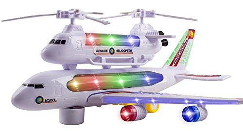 LilPals Live Action Toy Police Air Plane With Piggy Back Rescue Helicopter – Bump & Go Jumbo Jet/Helicopter With Flashing Lights, Music & Display Stand