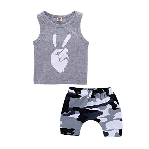 Baorong Summer Clothes Baby Boy Gray Sleeveless Tanks Top Camouflage Pant Toddler Outfits Set 100 - Camouflage Outfit