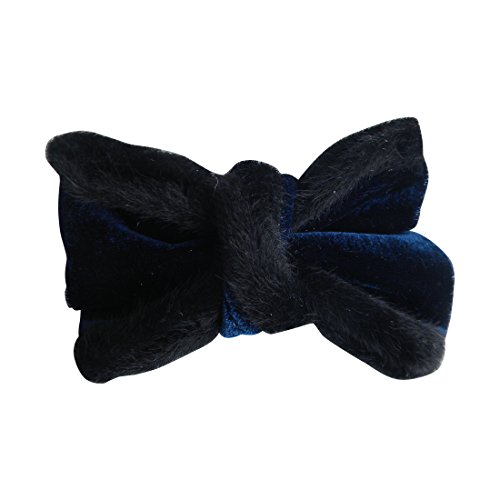 Navy Holiday Hair Bow Velvet with Fur Trim Hair Accessory for Girls (Motique Accessories)