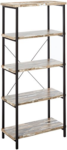 Skelton 4-Shelf Bookcase with Metal Frame Salvaged Cabin and Black - Set includes: One (1) bookcase Materials: Engineered veneer, hollow board and metal Finish Color: Salvaged Cabin and Black - living-room-furniture, living-room, bookcases-bookshelves - 41yFm8cjTnL -