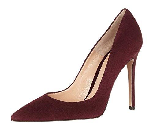 EDEFS Womens Pointed Toe Slip On Court Shoes High Heel Office Dress Pumps Burgundy