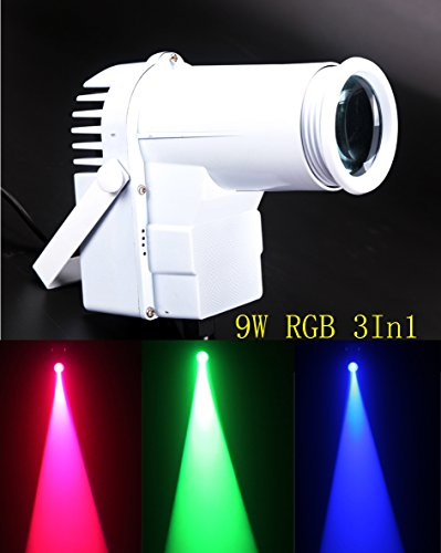 Led Pinspot,9w Full Color 3IN1 RGB Led Spot Light,Automatic Color Change,Use For Mirror Ball, Window Display In Boutique, Disco, Ballroom, KTV, Bar,Club, Party, Wedding