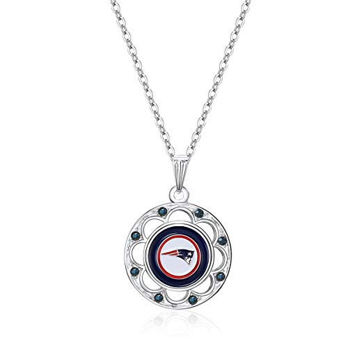 (NFL New England Patriots Circle Pendant Logo Necklace)