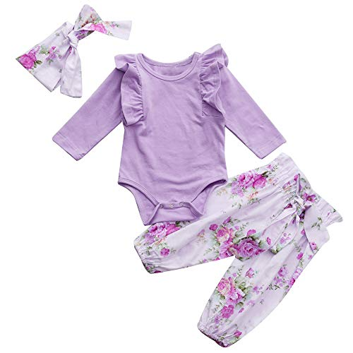 2018 Newborn Infant Baby Romper Outfits Sets,Girls Ruched Jumpsuit + Floral Print Pants (0-6 Months, Purple) ()