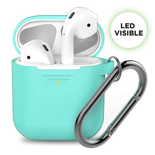 PodSkinz AirPods Case [Front LED Visible] Protective Silicone Cover Compatible with AirPods 1 & AirPods 2 (Gen 2) (with Carabiner, Diamond Blue)