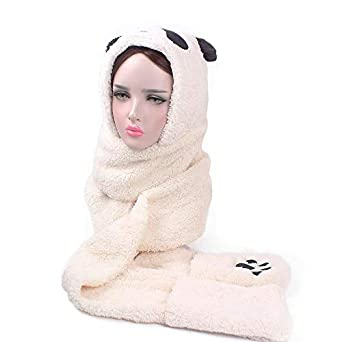 ALIKEEY Mujeres Faux Piel Panda Forma Beanie Caliente Invierno Mantener Caliente Sombrero Guantes Bolsillo Hero Nikon Tamron Juvenil Toque Toquemos Juntos: ...