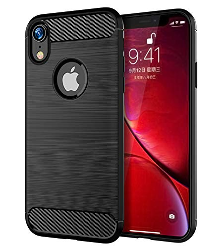 iPhone XR Case Slinco Carbon Fiber Brushed Non-Slip Anti-Fingerprint Slim Rugged TPU Wireless Charging Designed for Apple iPhone XR 6.1 Inch (2018)(Black)