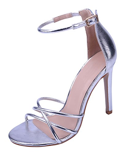 Cambridge Select Women's Open Toe Crisscross Buckle Ankle Strappy Stiletto High Heel Sandal (7 B(M) US, Silver) (Heel Silver High Sandals)