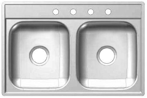 Franke Kindred 1634-8070 Kindred FDS604N 22 x 33 x 6 Stainless Steel Drop-In Double Bowl Sink – Satin Finish 4 Faucet Holes