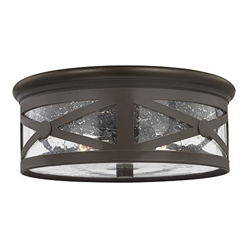 - Sea Gull Lighting 7821402-71 Lakeview Two-Light Outdoor Flush Mount Ceiling Light with Clear Seeded Glass Shade, Antique Bronze Finish