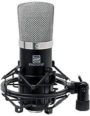 Pronomic CM-22 Studio groot membraan microfoon XLR-condensatormicrofoon (met microfoonspin, etui, windscherm, reduceerschroefdraad en transportkoffer) zwart