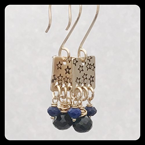 Gold Spinel Earrings - Gold Fill Star earrings with Lapis and Black Spinel