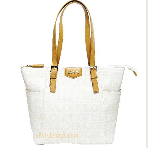beige ivy Classic LOEM signature Print golden logo trapezoid shoulder Bag tote
