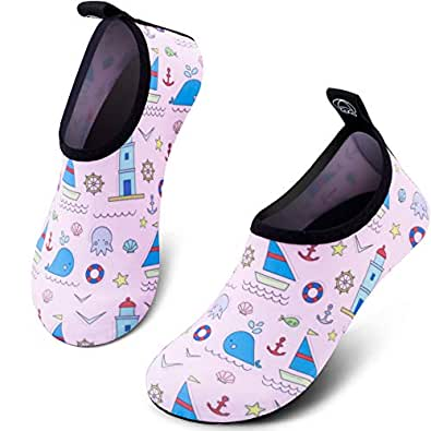 SIMARI Kids Water Shoes Girls Boys Toddler Quick Dry Anti Slip Aqua Socks for Beach Outdoor Sports SWS003 Multi-Color Size: 1~2 Little Kid