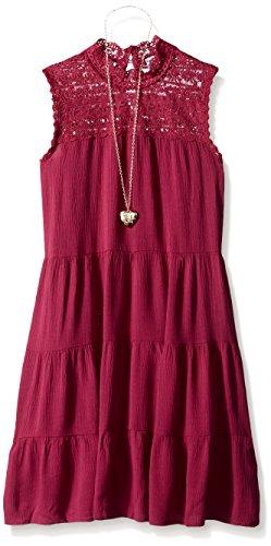 3 Tier Dress (Beautees Big Girls' SL Solid 3 Tier Lace Trim Dress, Spring Wine, 7)