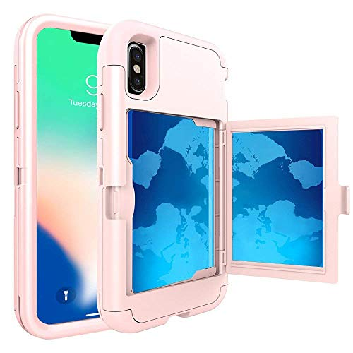 iPhone XS Case (2018) / iPhone X Case (2017), Hidden Door Slim Wallet Case, Fits 2 Cards and Cash, Reinforced Drop Bumper Protection, Open Mirror, Front Frame Screen Protection - Rose Gold