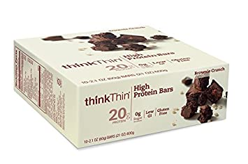 thinkThin High Protein Bars, Brownie Crunch, 2.1 Ounce by thinkThin