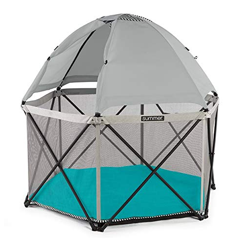 Summer Pop 'n Play SE Hex Playard, 6-Sided, Sweet Life Edition, Aqua Sugar Color – Full Coverage Play Pen for Indoor and…