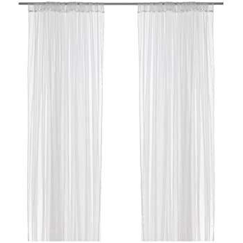 Ikea Mesh Lace Curtains, 110 Inch By 98 Inch, 1 Pair, White