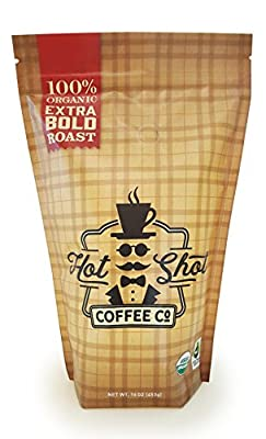 Hot Shot Coffee Extra Bold Dark Roast - Fair Trade 100% Organic - 1 lb Whole Bean - 100% Arabica Coffee Beans