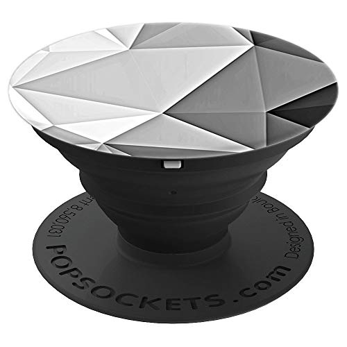 Grey Abstract Diamond Geometric Shape Pop Socket Gift - PopSockets Grip and Stand for Phones and Tablets