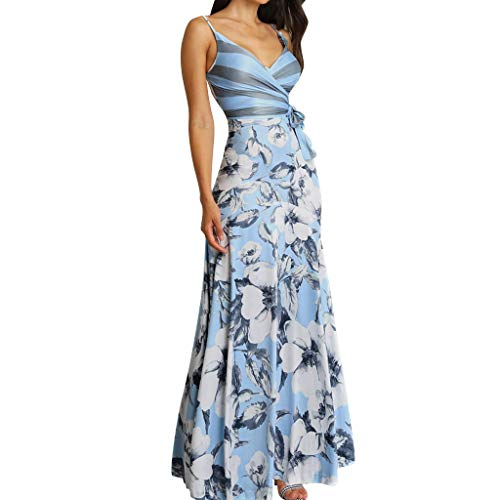 Big Sale,Yetou Ladies Casual Summer Floral Print Wrapped Tied Side Maxi Dress Dresses for Women Casual Summer Blue -