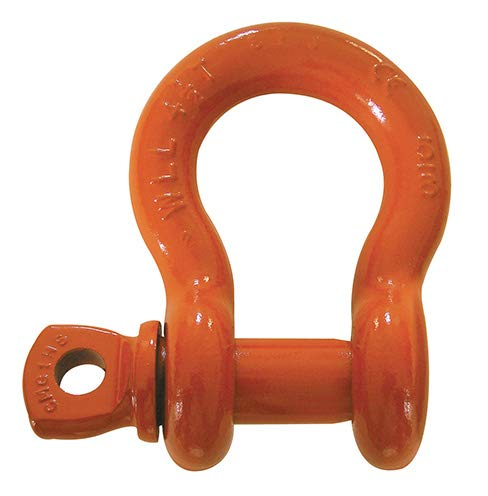 Columbus McKinnon - Screw Pin Anchor Shackle - 7/8 in, 8-1/2 ton Capacity, Steel, Orange Powder Coated (4 Units)