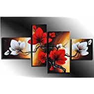 The Back Full Bloom in Spring Red Flowers - 100% Hand-painted Best-selling 4 panels Flower Oil Paintings on Canvas Wall Art for Wall Decor Landscape Oil Painting on Canvas 4pcs/set