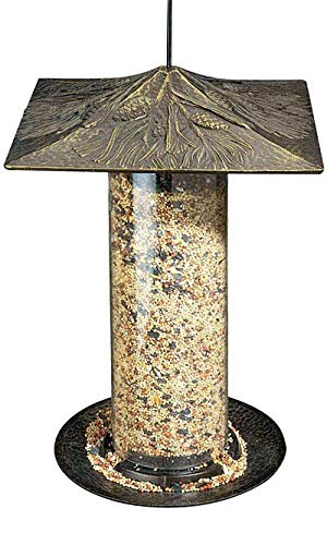 Whitehall Products, Pinecone Twelve Inch Aluminum Tube Feeder 30423, 9.5 inch wide by 14.5 inches high, french bronze