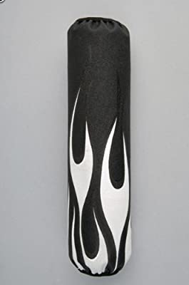 Yamaha OEM Flamed Front Shock Covers. Black with White Flame. SMA-SCVRR-FL-BB