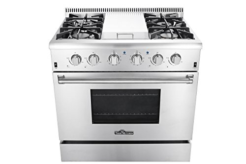 Thorkitchen HRG3617U 36' Gas Range with 5.2 cu. ft. Oven, 4 Burners, Griddle,Convection Fan, Stainless Steel