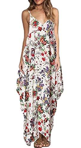 Maxi Dresses Red Baggy Print Sleeveless Strap Women Spaghetti Floral Jaycargogo V Neck 4nRzaxqvP