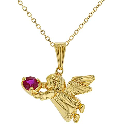 Price comparison product image In Season Jewelry 18k Gold Plated Hot Pink Crystal Heart Pendant Guardian Angel Necklace for Girls 16""